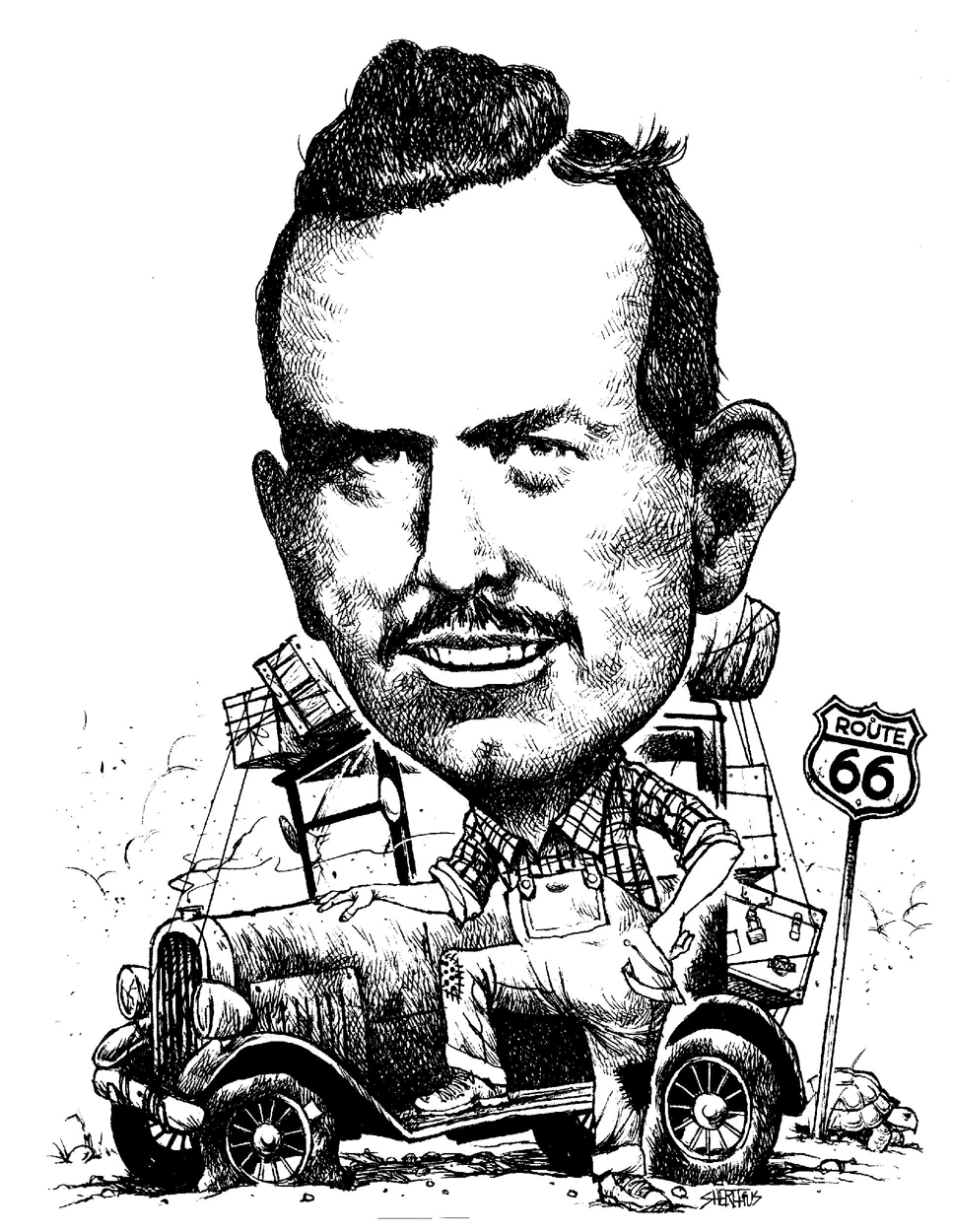Caricature of John Steinbeck Provided by the NEA